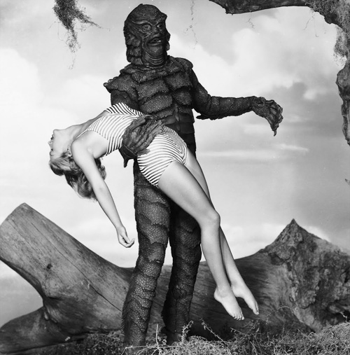 "Gill-boy back at it again in ""Revenge of the Creature"" (1955), hauling off Lori Nelson in this one. (Nelson stared in ""Underwater!"" with Jane Russell)"