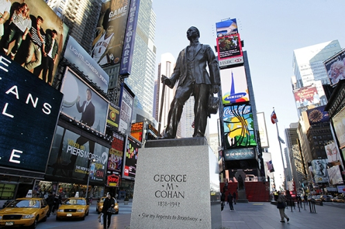 A statue in honor of George M. Cohan stands in Times Square in New York