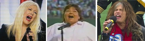 "A failure to launch: Notoriously bad performances of ""The Star Spangled Banner"" have been rendered by Christine Aguilera, Roseanne Barr and Steve Tyler."