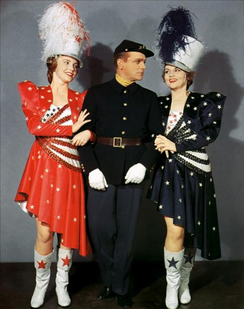 "Colorized promotional still of ""Yankee Doodle Dandy"" featuring James Cagney."