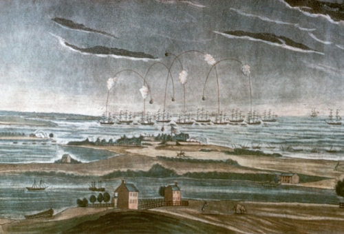 The Battle for Ft. McHenry, Sept. 13, 1814. The British fleet hit the American fort with everything they had, but failed to force their way through.