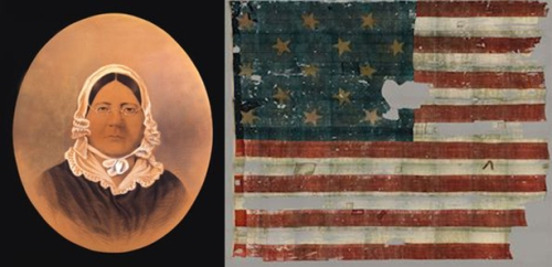 Flagmaker Mary Pickersgill and her creation. Pickersgill actually made 2 flags for Ft. McHenry, one sized 17x25 feet that was flying when the bombardment began, and  a much larger 30x42 foot flag that was hoisted up the flagpoll come dawn's early light.