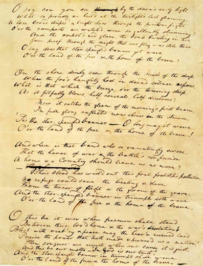 "Francis Scott Key's draft of ""Defense of Fort M'Henry"""