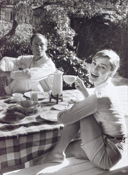 Hepburn with first husband Mel Ferrer.