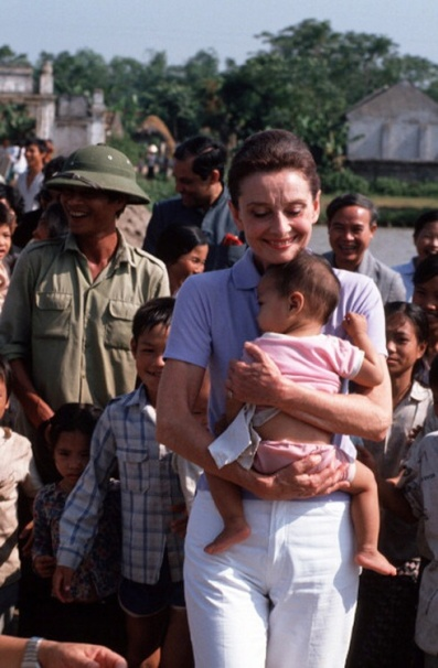 Hepburn on a  goodwill mission to Vietnam in 1990.