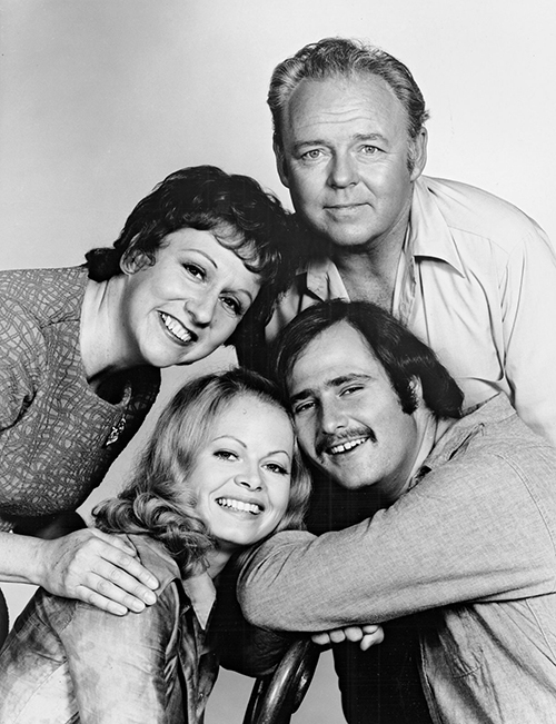 """All In the Family"" cast members (from bottom left) Sally Struthers, Jean Stapleton, Carroll O'Connor and Rob Reiner"