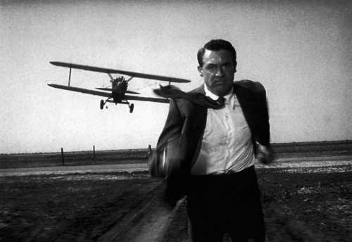 "Cary Grant looks like he's about to become  propeller meat in ""North by Northwest"""