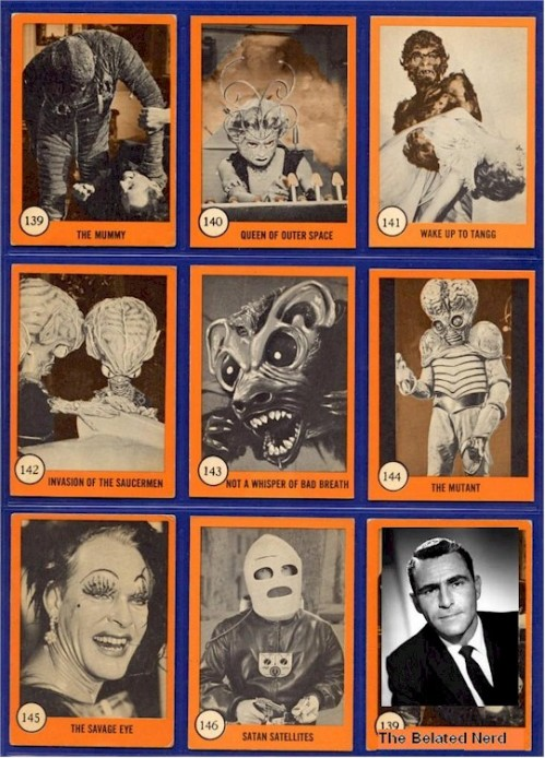 Monster tradiing cards, 1960s.