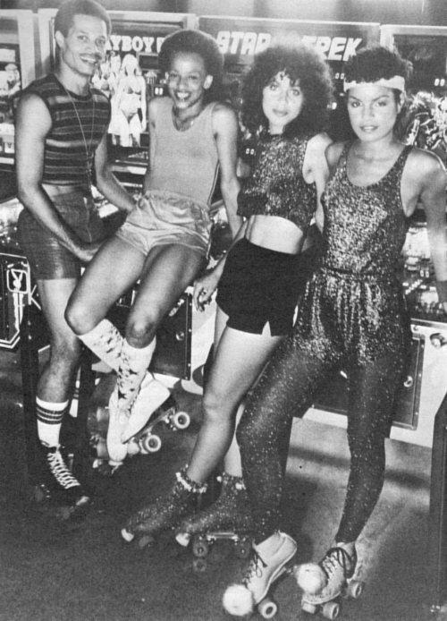 Roller disco mania, late 1970s.